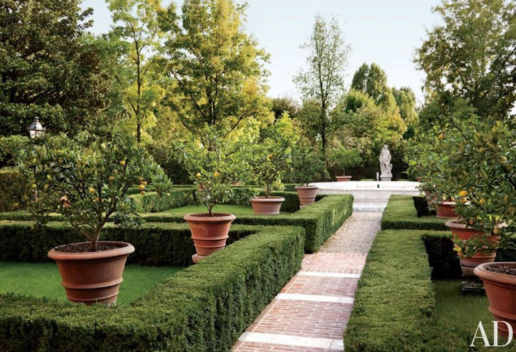 Formal gardens fountain statue fruit trees