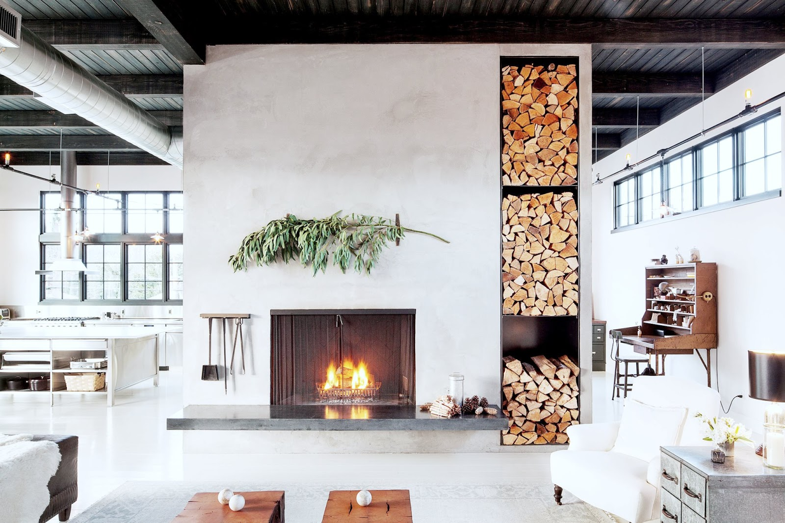livingroomfireplaceindustrialloftcococozynyt  COCOCOZY
