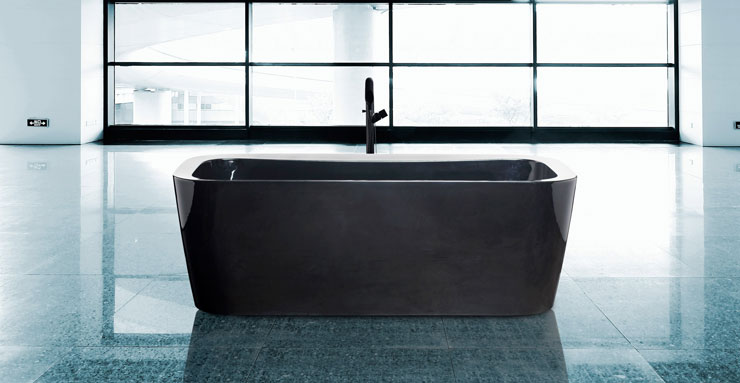 best freestanding bathtubs black Aquamass rectangular tub