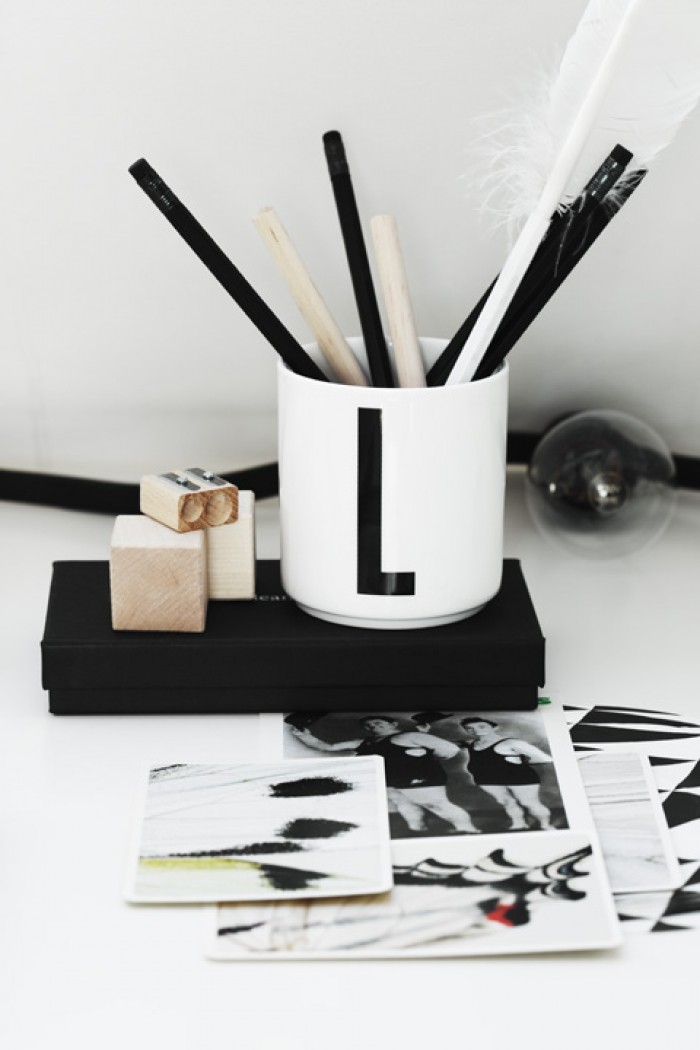 home office black and white monogram pencil holder