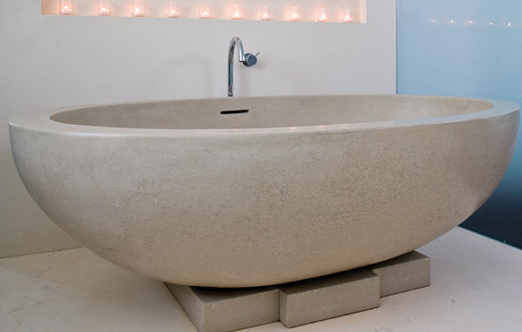 Best Freestanding Bathtubs Cement Asymmetrical Almond Shaped Tub