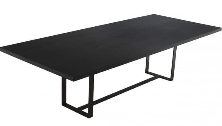 Ebonized Wood Dining Room Table Steel Base
