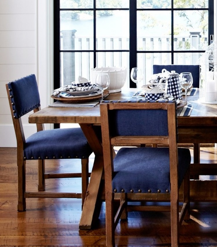 Modern Country Cottage Dining Room Blue Nailhead Trim Chairs Wood Table