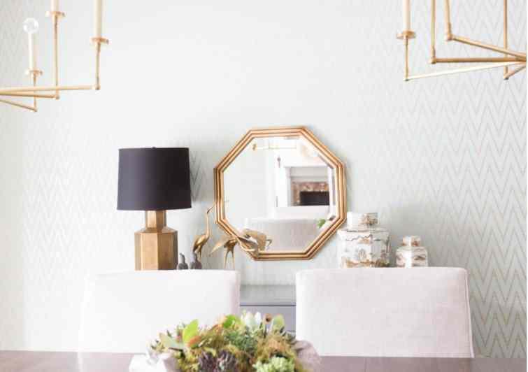 hexagon-brass-mirror-light-blue-chevron-wallpaper-cococozy-alyssarosenheck
