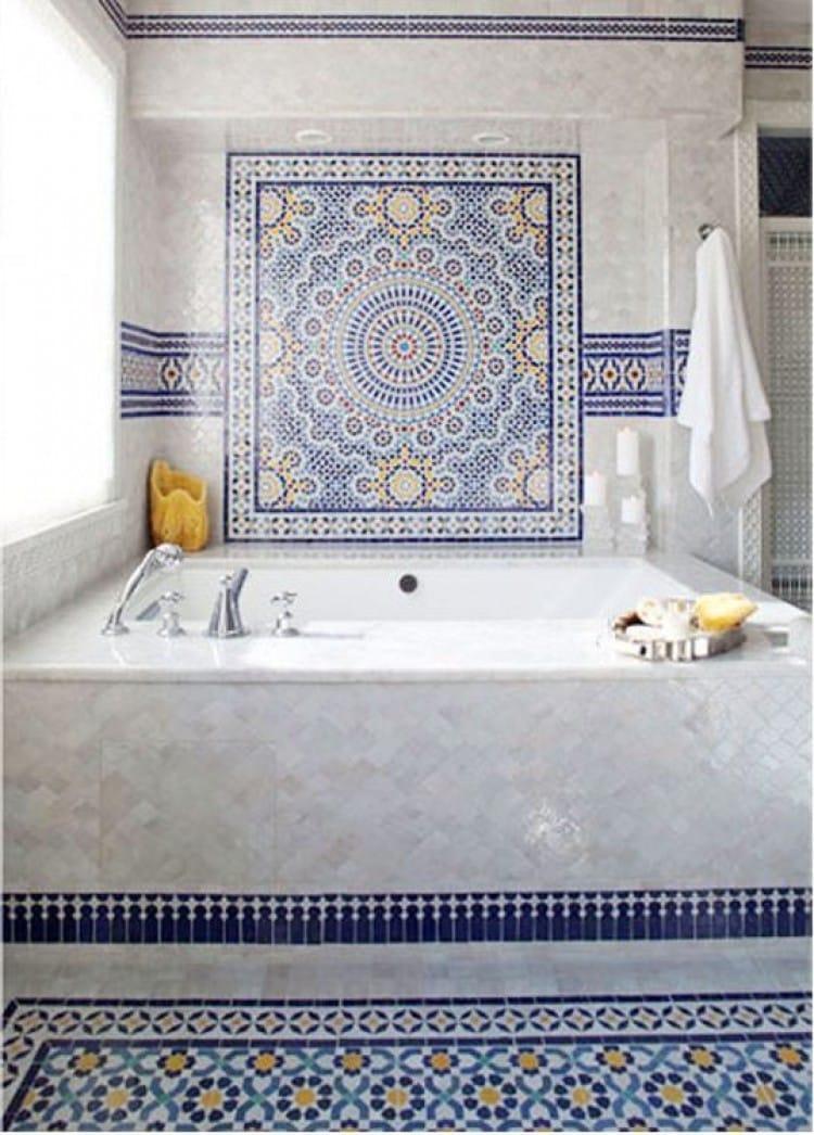 Blue Moroccan Mosaic Tile Bathroom Bathtub