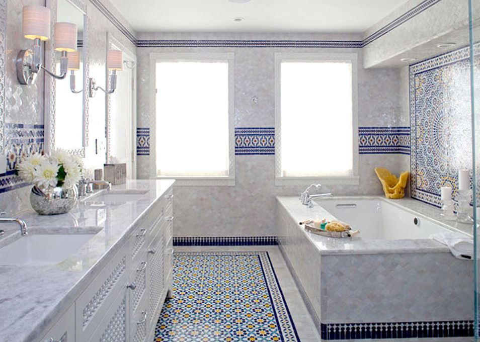 Blue Moroccan Mosaic Tile Bathroom in Cape Cod