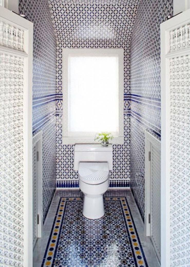 Blue Moroccan Mosaic Tile Bathroom Toilet Room