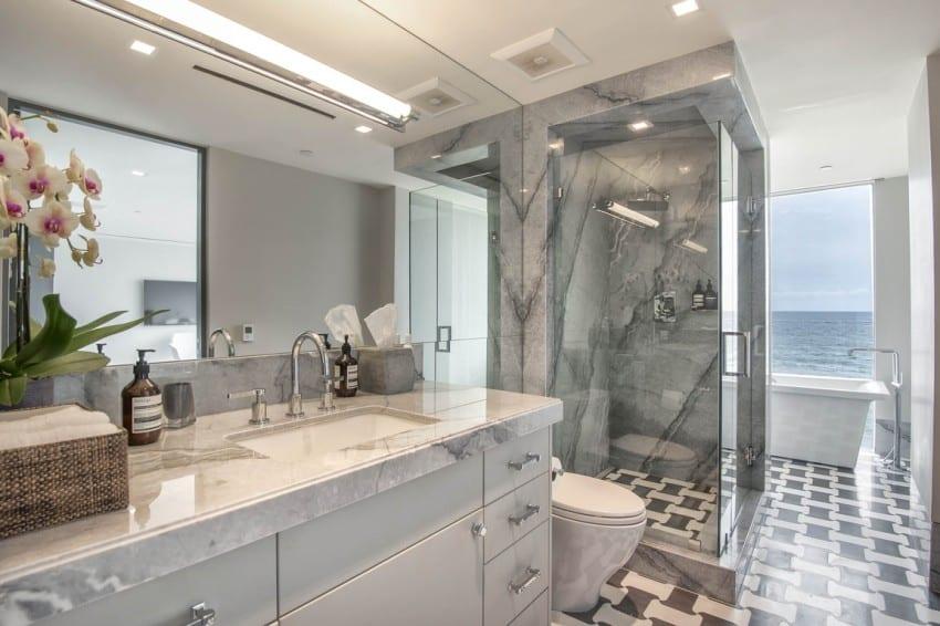 Malibu Modern Beach House bathroom oversized basketweave tile