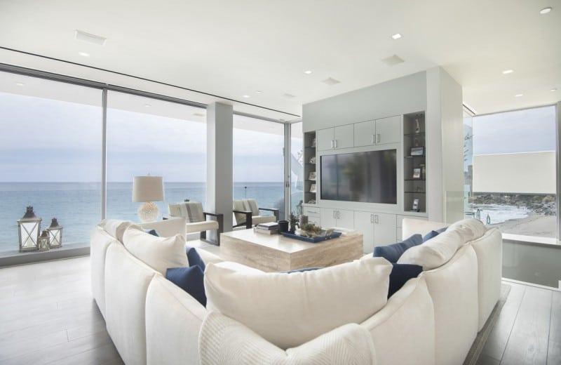 Malibu Modern Beach House Living Room Ocean View