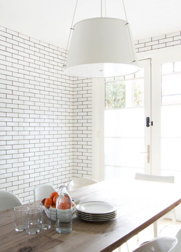 Monochromatic rooms white kitchen dining room