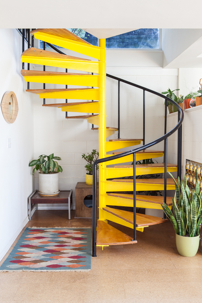 Yellow spiral stair case