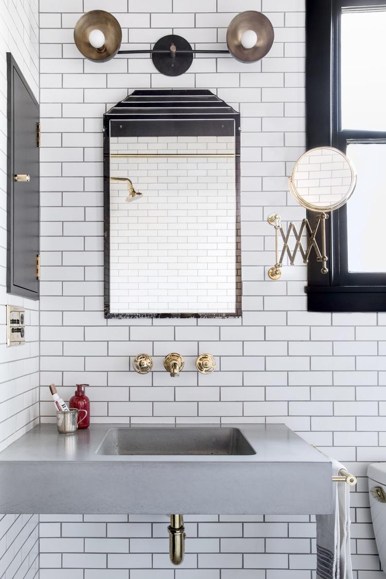 Bathroom Design Floating Sink Mirror White Subway Tile Black Grout
