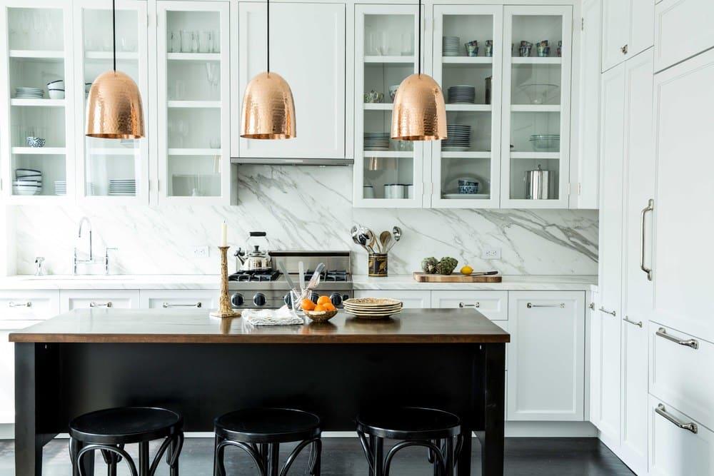 copper kitchen pendant lights marble slab