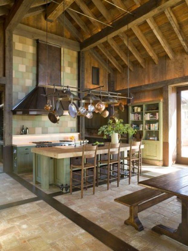 rustic kitchen tile backsplash copper hood pots cococozy nicolehollis napa valley 2