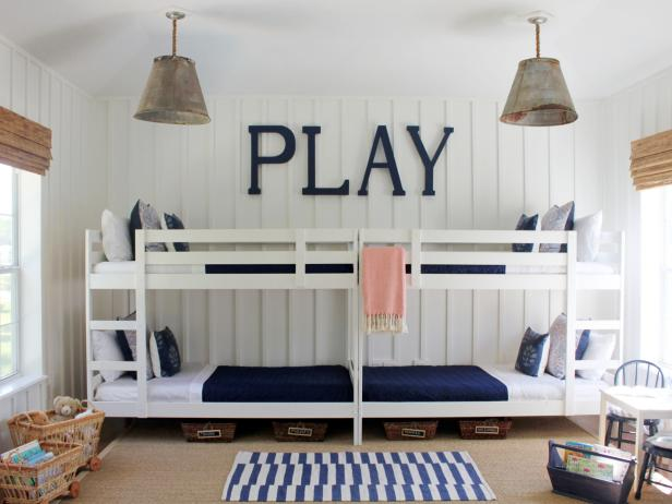 white and blue bedroom with bunk beds