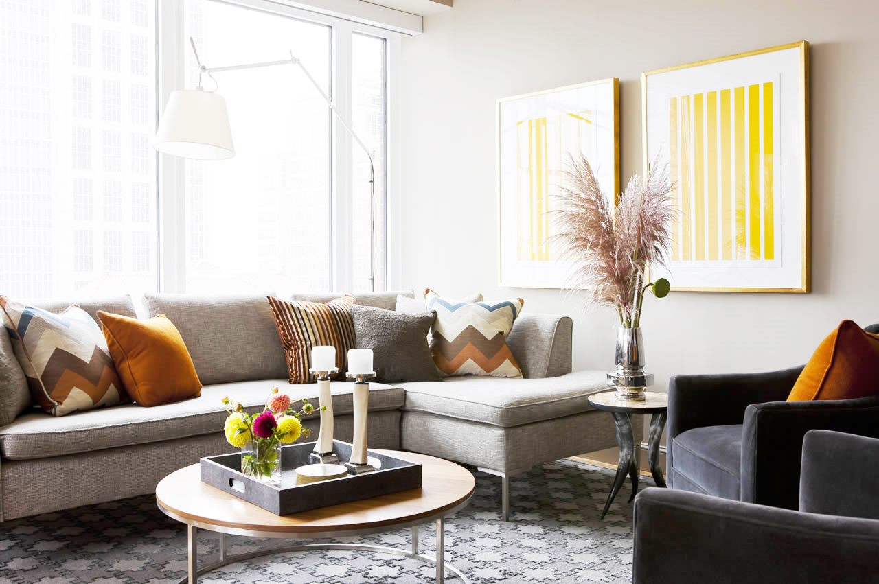 Grey Living Room Yellow Accents Cococozy Terratelms