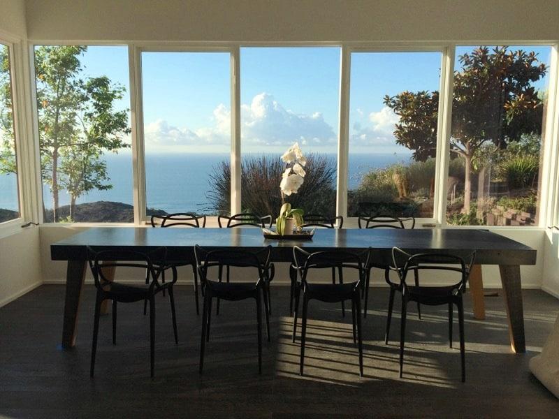 Malibu dining room ocean view