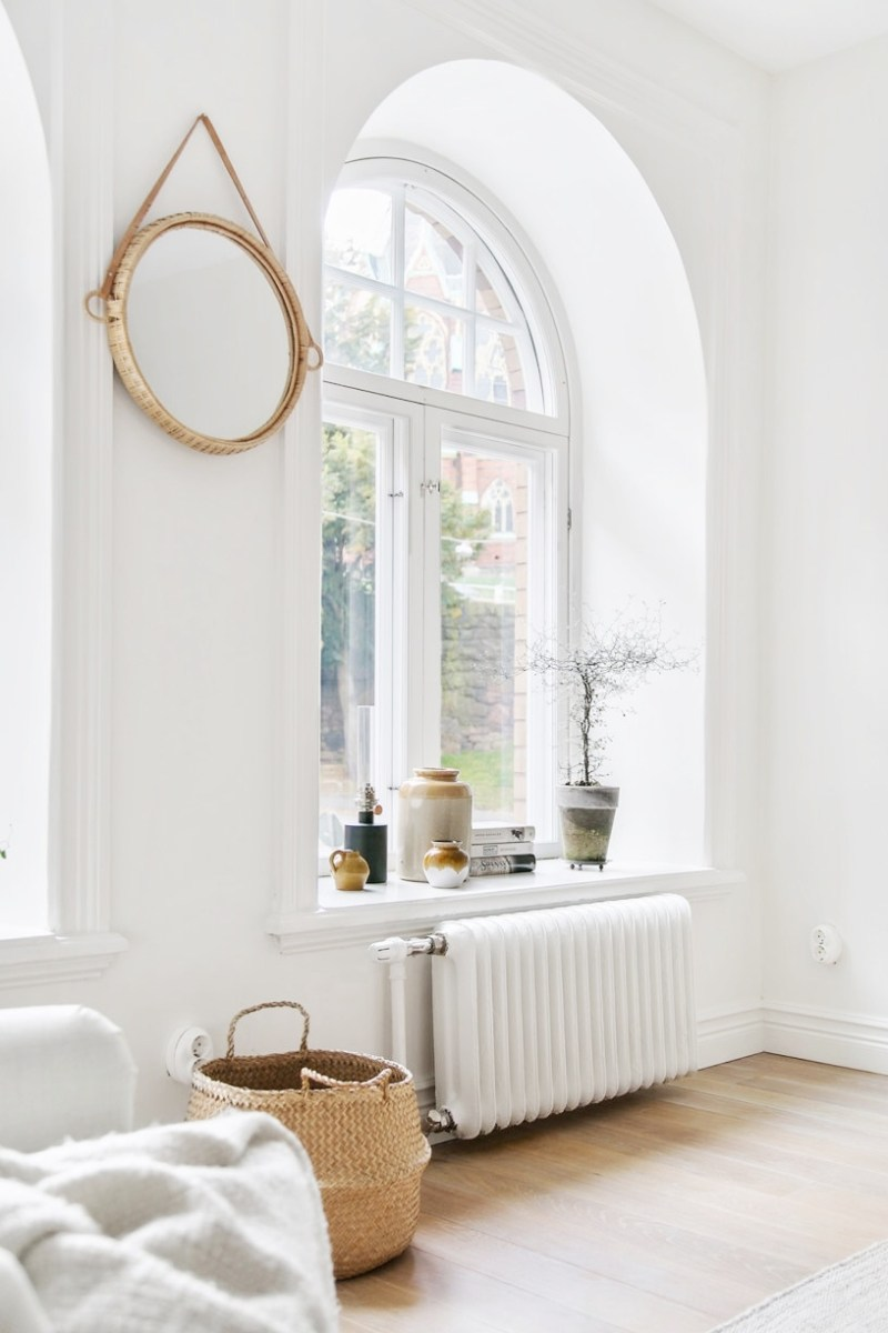 small apartment arched window Sweden