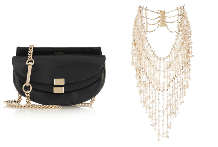 L-R: ROSANTICA Ninfea gold-tone, pearl and rock crystal necklace, CHLOÉ Georgia convertible leather belt bag
