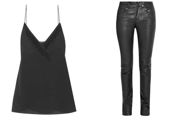 L-R: 3.1 PHILLIP LIM Fringe-trimmed silk-crepe camisole, HELMUT LANG Leather skinny pants