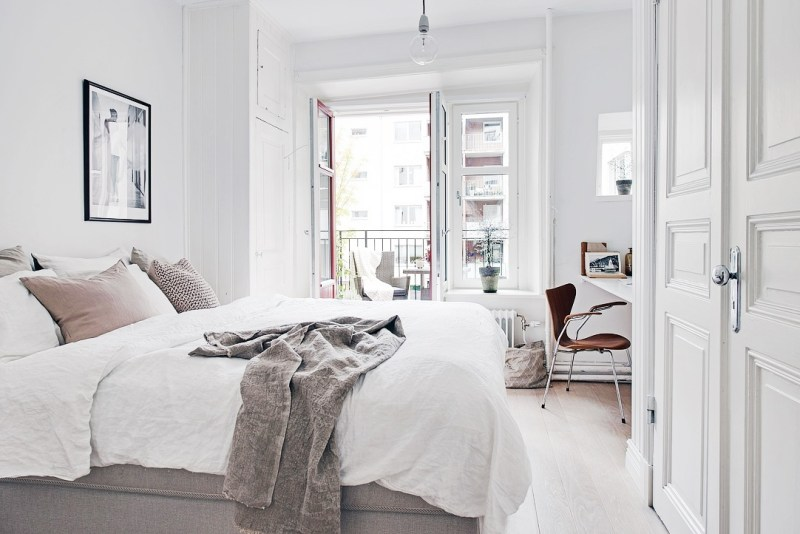 white grey bedroom swedish apartment cococozy