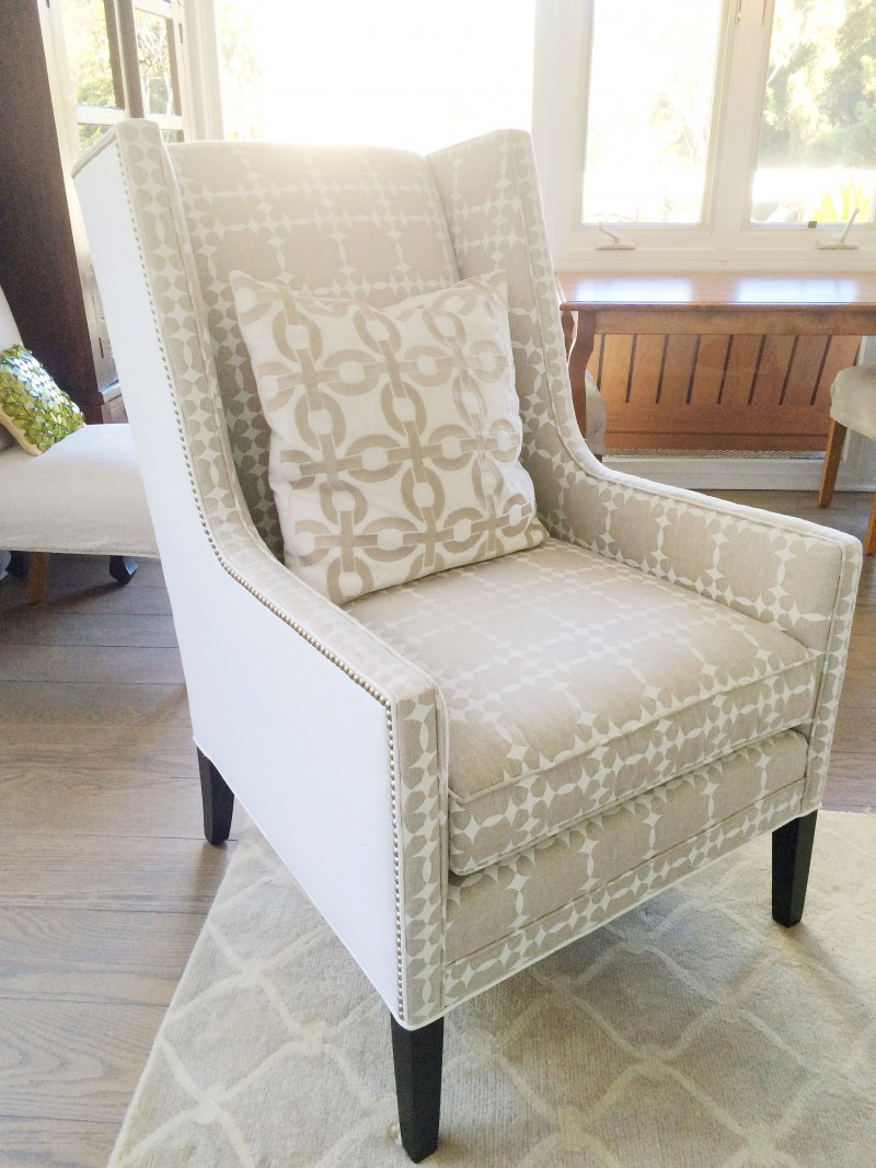 Two toned wingback chair living room