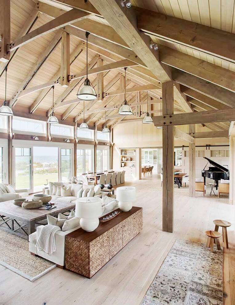 Vaulted ceilings barn style great room living room for Home plans with vaulted ceilings