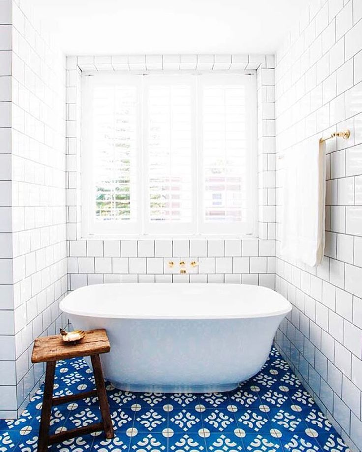 White-bathroom-stand-alone-tub-subway-tile-blue-cement-tile-cococozy-halcyonhouse-blackandspiro