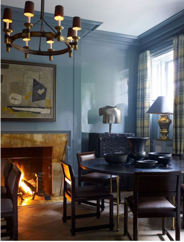 blue rooms lacquer walls dining room round table