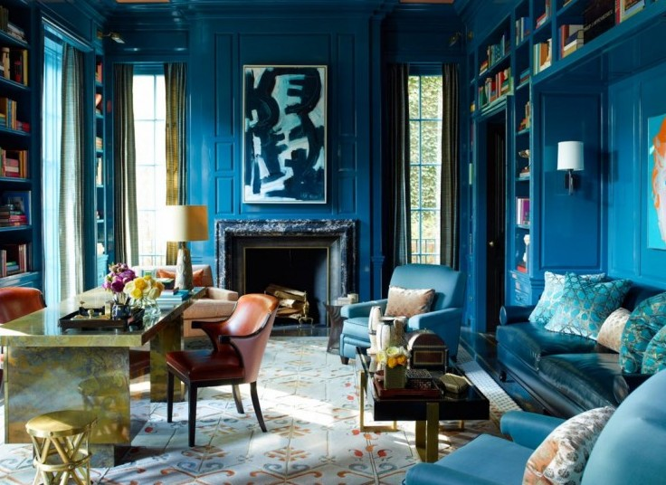 inspiring blue rooms lacquer walls living room fireplace