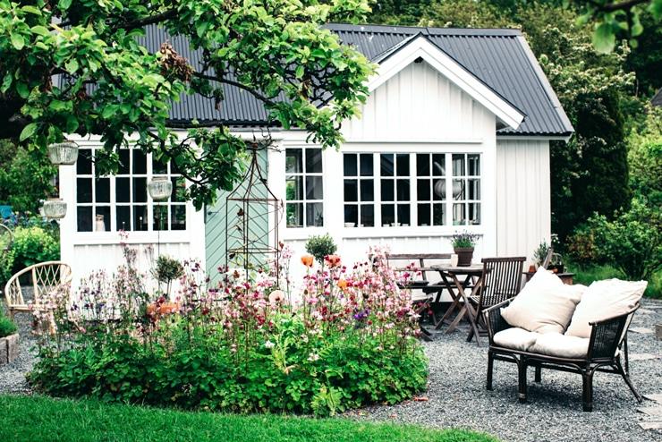 Swedish cottage exterior garden