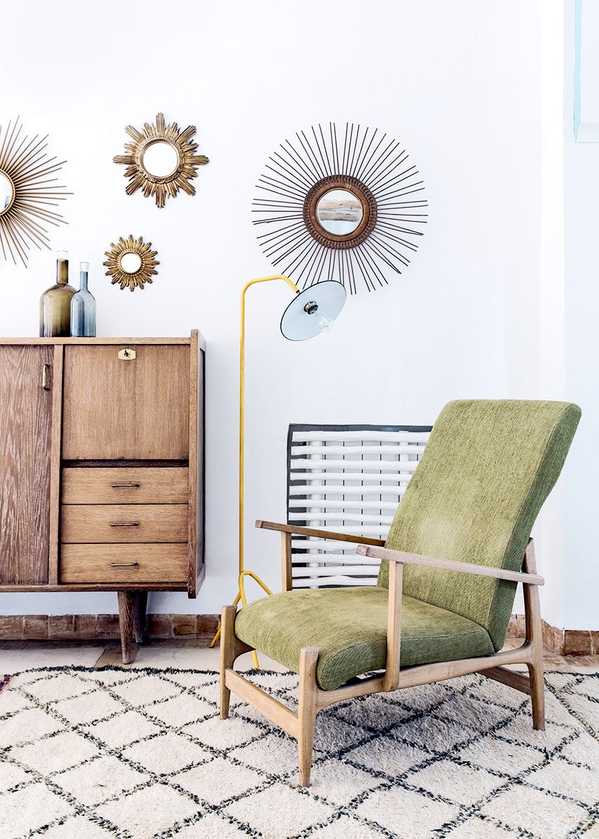 Midceniury Modern furniture mixed with Moroccan accessories