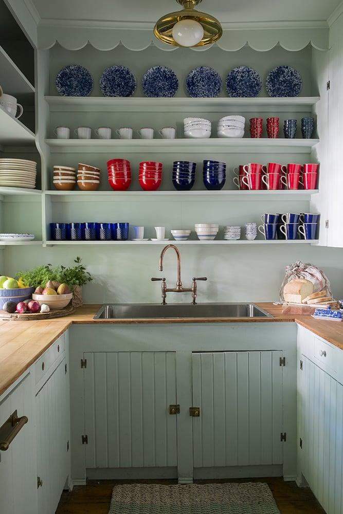 small kitchen light blue open shelves butcher block counter copper faucet cococozy studiomrs