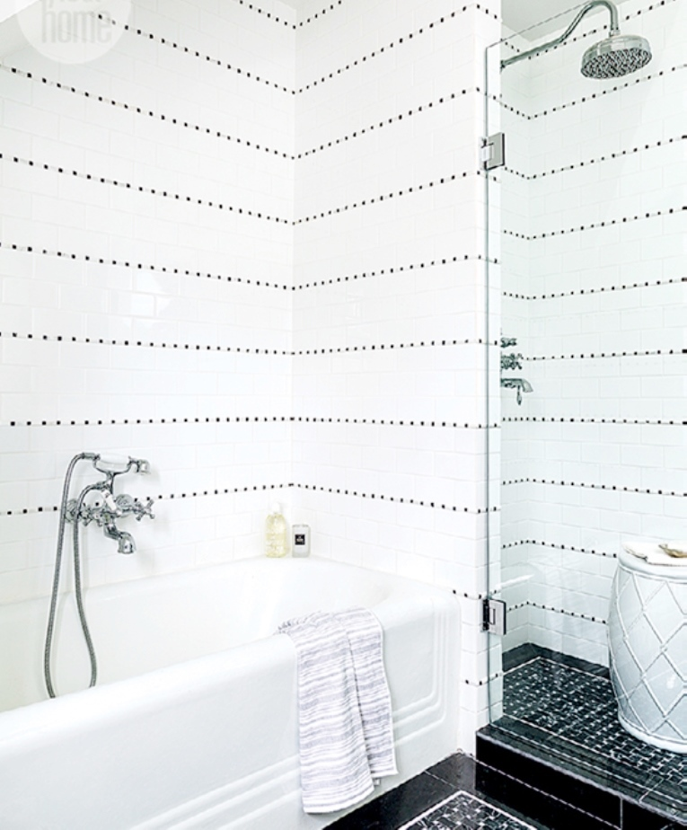 white-on-black-shower-black-basketweave-tile-floor-cococozy-styleathome