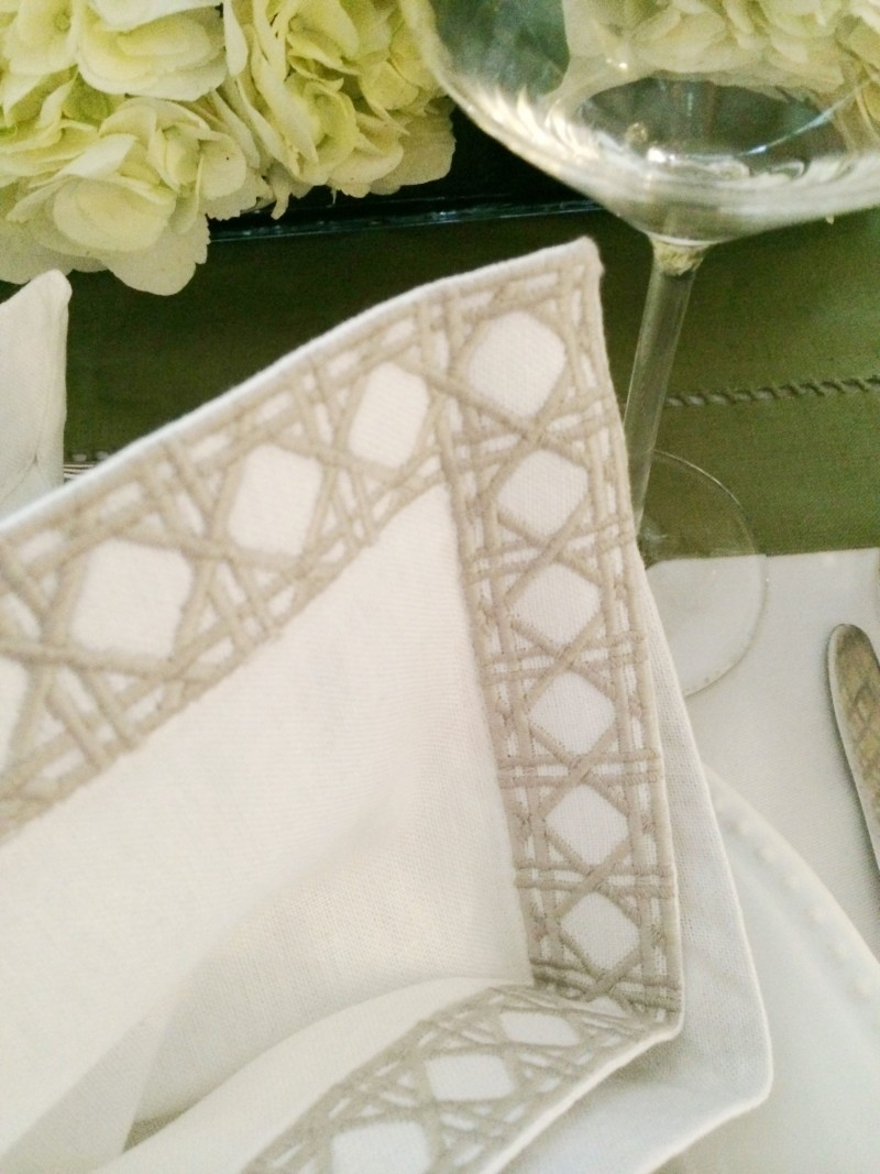Embroidered Napkin Cane Pattern