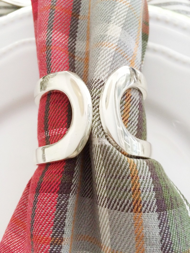Red plaid napkin silver napkin ring holder