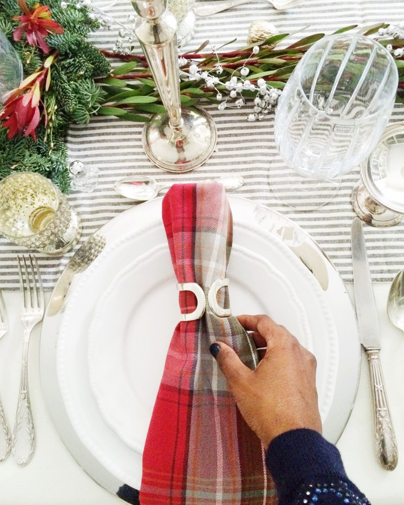 Christmas Tabletop Rehearsal Red Plaid Napkin