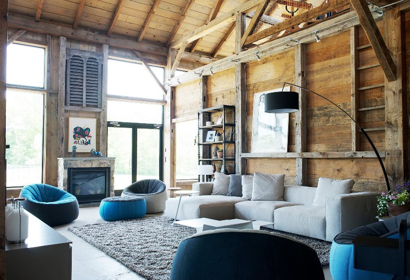living room rustic barn house pennsylvania