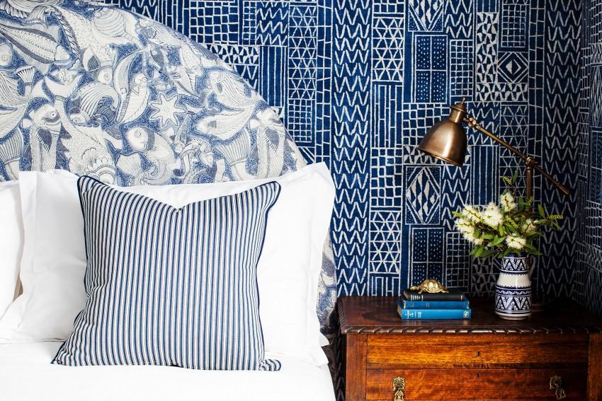 blue-white-bedroom-headboard-bed-brass-lamp-wallpaper-cococozy-halcyonhouse-blackandspiro