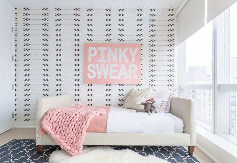 Girls Bedroom Arrow Wallpaper Pink White