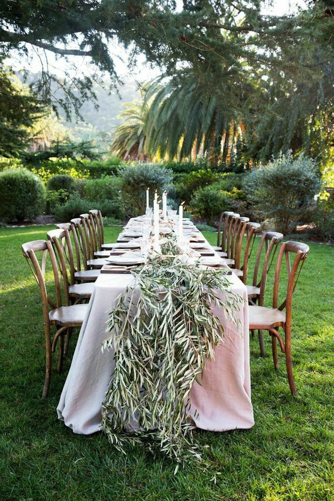 Winter Dining Outdoors Long Table Olive Branch Garland
