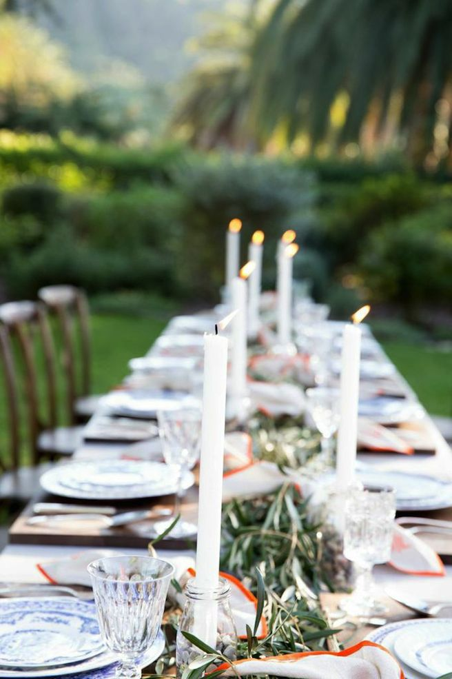 Winter Dining Outdoors White Napkins Candles