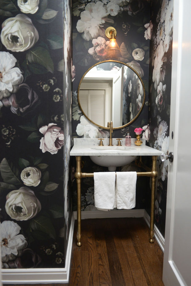 Dark Floral Wallpaper Emily Schuman Powder Room