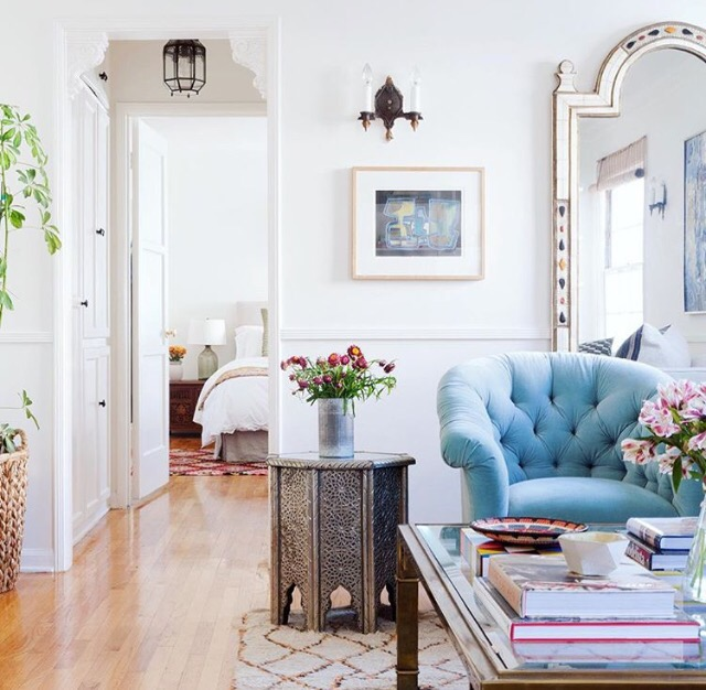 pink blue tufted chair living room