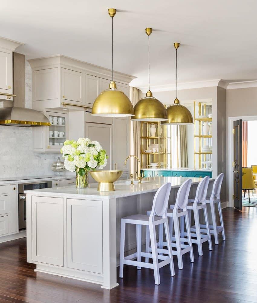 grey kitchen cabinets brass pendant lights