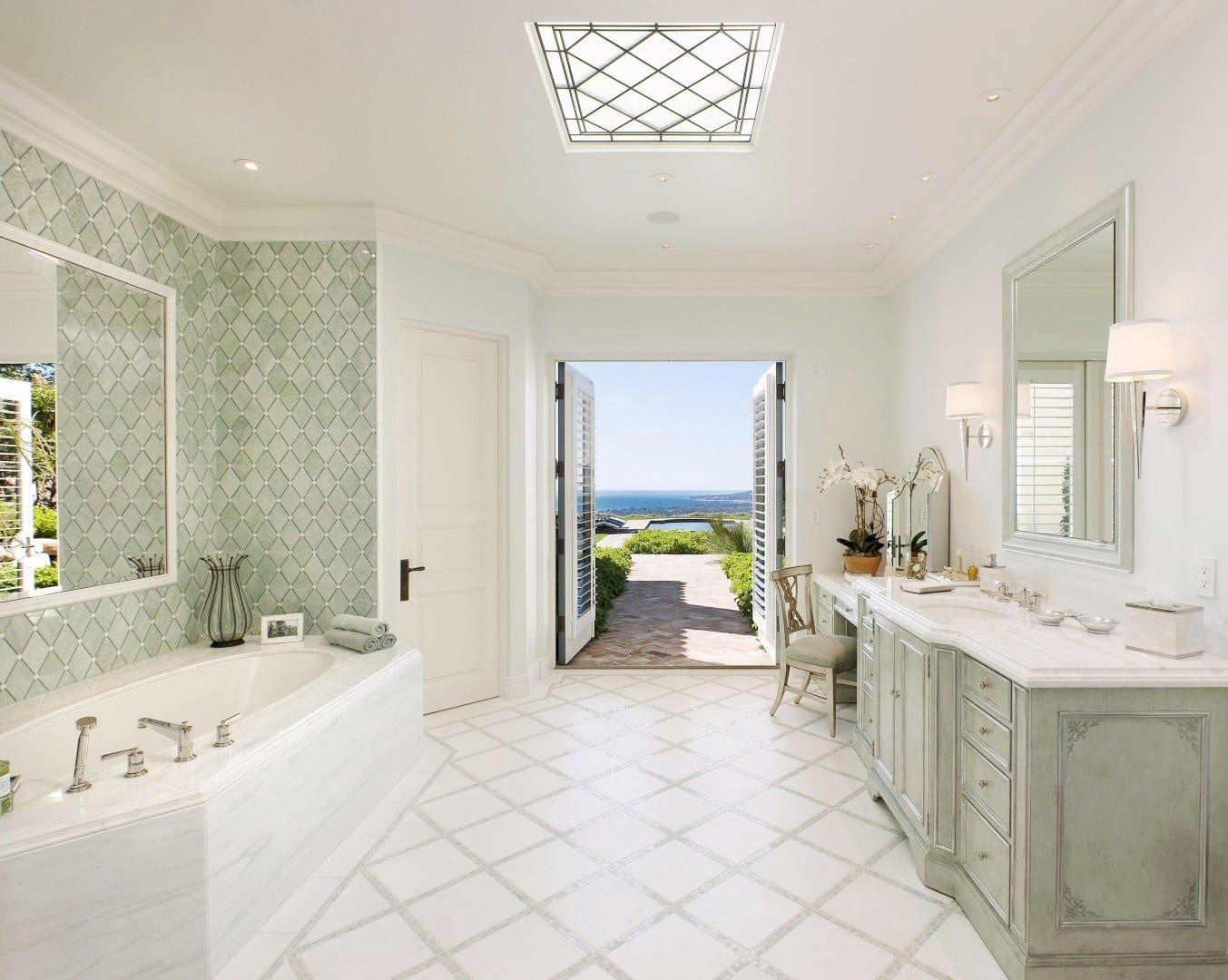 Montecito Estate Master Bathroom Bath Ocean View