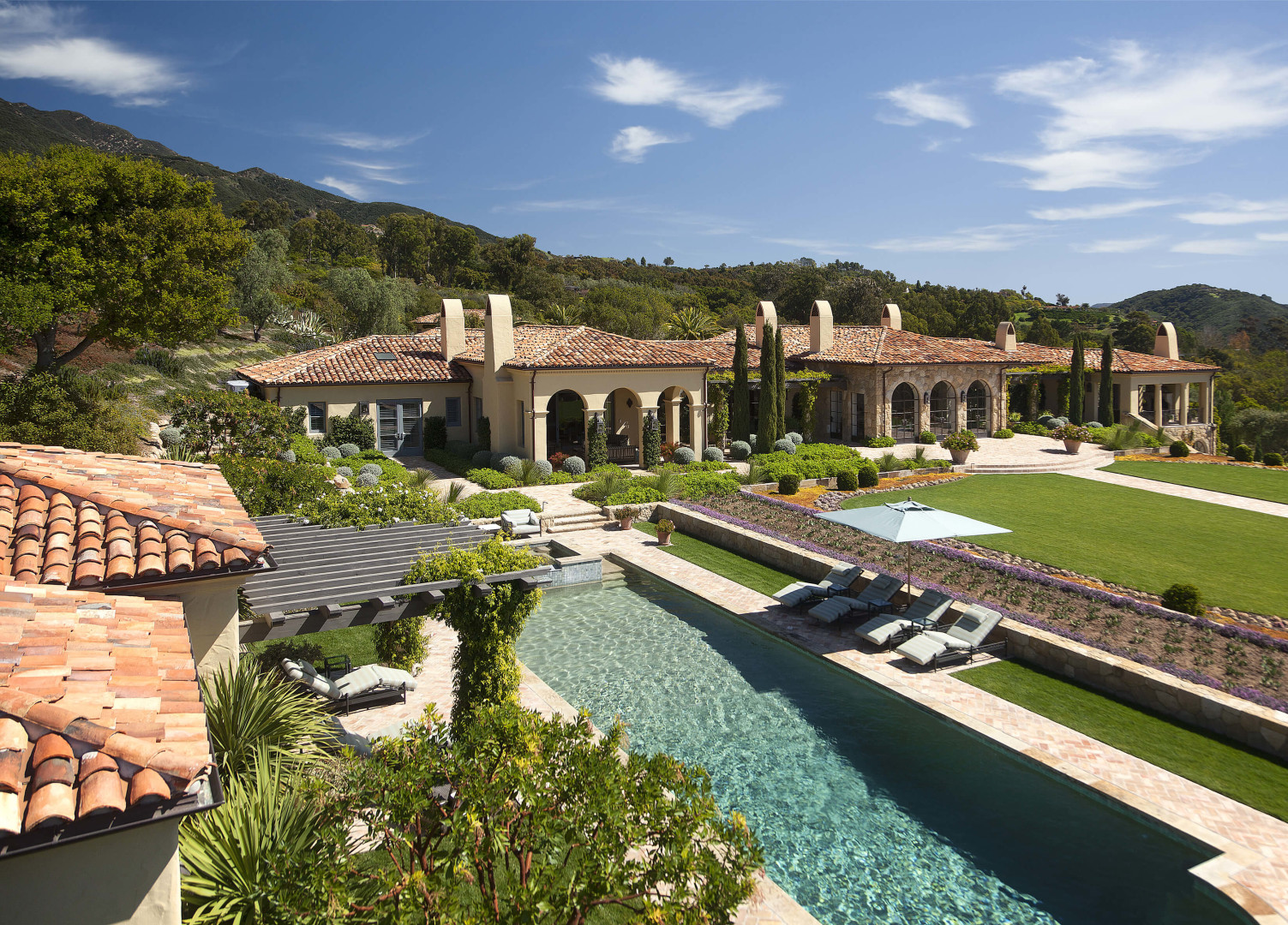 Montecito mansion spanish style mediterranean exterior 815 for Spanish mediterranean homes for sale