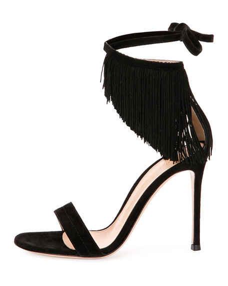 Gianvito Rossi Fringe Suede Ankle-Wrap Sandal, Black $995.00