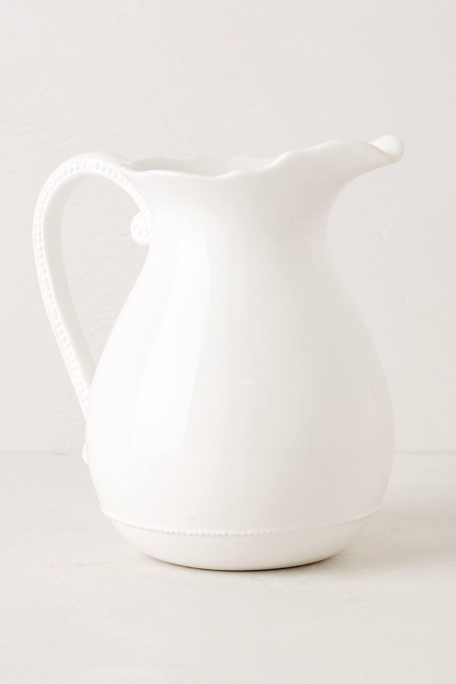 white dolomite glass pitcher