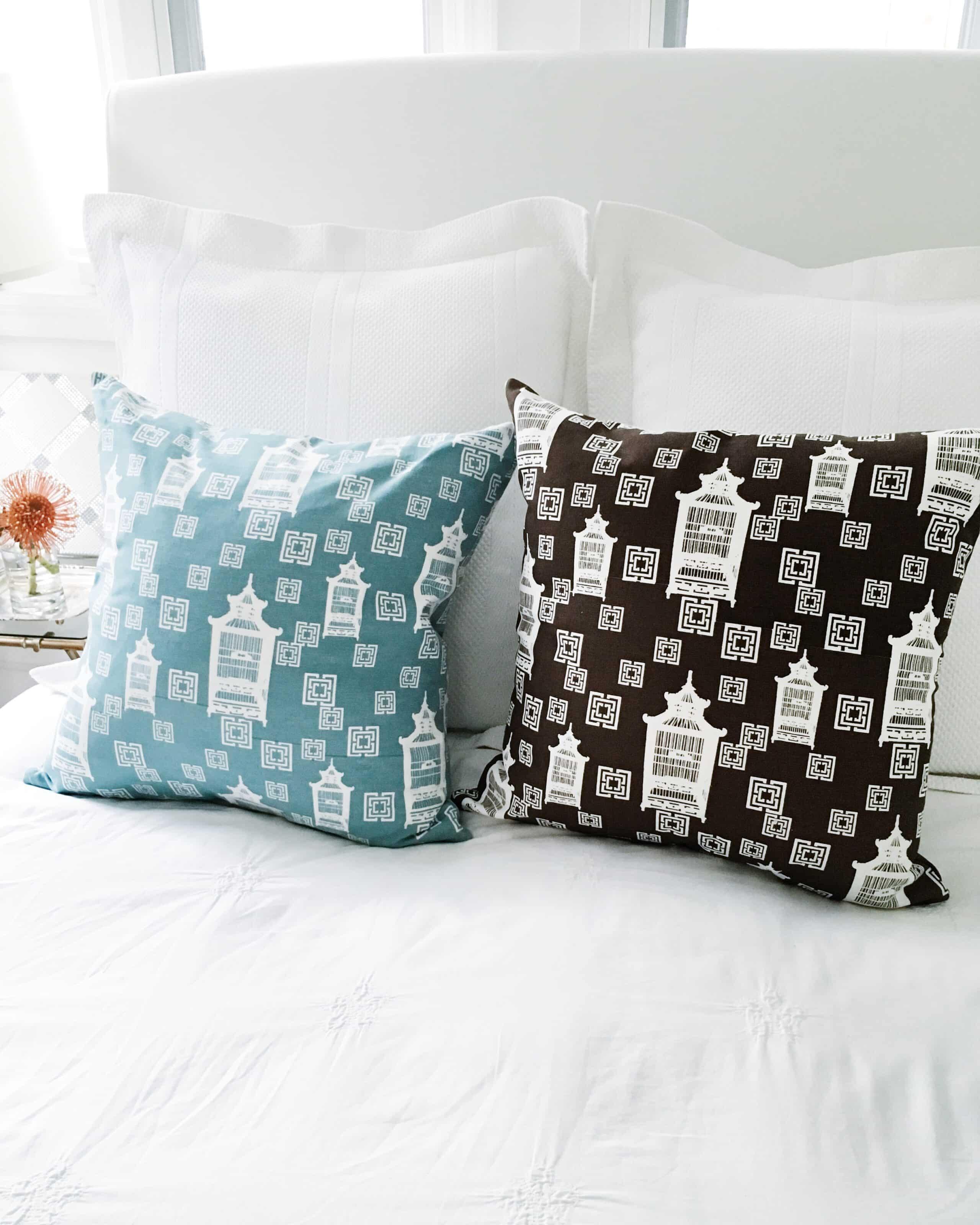 Light blue brown pillows bed bedding
